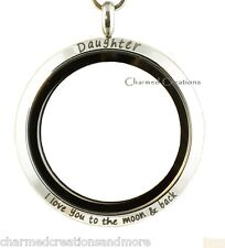 Daughter I Love You To The Moon And Back Floating Charm Memory Locket Rolo Chain