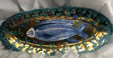 Fish Blue Dish Decorative Tray Platter Glazed Plate Kitchen Bar Stunning Gift