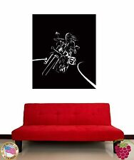 Wall Stickers Vinyl Decal Girl Riding Bike Rock Decor Black and White z1194
