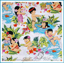 BonEful Fabric FQ Cotton Quilt VTG Scenic Kaui Kid Boy Girl Hawaii Flower Beach