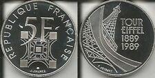 FRANCIA 5 FRANCHI 1989 TORRE EIFFEL SILVER PROOF