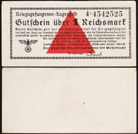 1 REICHSMARK 1939 1944 ALLEMAGNE / GERMANY [SUP / XF] camp prisonniers lagergeld