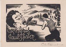 EX-LIBRIS PAUL PFISTER GRAVÉ SUR BOIS PAR CHARLES FAVET (1899-1982)