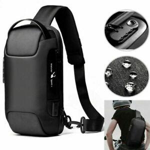 Herren Brusttasche mit USB Umhängetasche Crossbody Sling-Bag Schultertasche