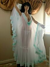 "VTG INSPIRED BRIDAL HANDMADE DOUBLE LAYER NIGHTGOWN CHIFFON MEGA 360"" SWEEP 5X-6"