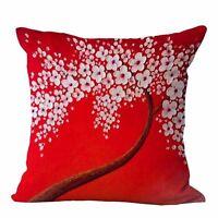 Flower Cotton Linen Pillow Case Waist Back Throw Cushion Cover Home Sofa Decor