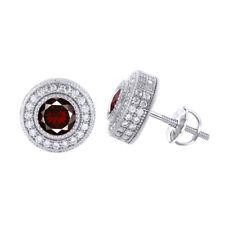 925 Silver Mens Ladies Garnet Red Ruby Gemstone Platinum Plated studs Earrings