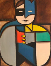 Batman and Robin Abstract  Pop Cubism Superhero Comics Painting by Tommervik
