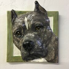 American Staffordshire Terrier Pit Bull Dog Ceramic Portrait 3D Tile In Stock