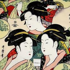 Alexander Henry Cotton Fabric, Japanese Geishas, Multicolor on Ivory, BTY