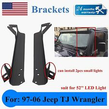 "Jeep Wrangler TJ Steel Windshield Mounting Brackets For 52"" LED Light Bar 18/24W"