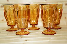 "Westmoreland Golden Sunset Amber Colonial (5) Iced Tea Glasses 6½"" Stem #1776"