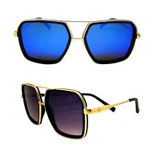 Lunettes Soleil XXL MIROIR Carré GOLD Swag KAZAL Money Big BLING OR Sreetwear
