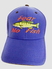 """Fear No Fish"" Blue Baseball Style Cap Hat Embroidered Design"