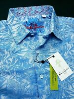 Robert Graham Floral Paisley Print Blue Short Sleeve Shirts