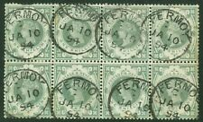 SG 211 1/- dull green. Very fine used block of 8. Cancelled with Fermoy CDS's...