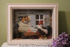 Rooster 11x14 Framed Picture Shadow Window Box with Wheel Barrow Daisies 3-D