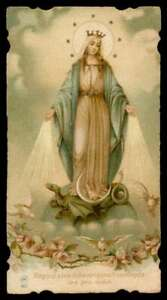 OUR LADY OF GRACES STEPPING ON DRAGON, DOVES & FLOWERS Old 1915 HOLY CARD