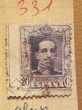 N°331 Timbre oblitéré à décoller BE Espagne 1922 Alfonso 20c lilas décallé