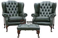 2 xchesterfield mallory queen anne dossier haut aile chaises en cuir vert + repose-pieds