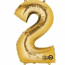 "Number 2 Gold Foil Balloon 16"" 40cm Air Fill Age Name Birthday Anniversary"