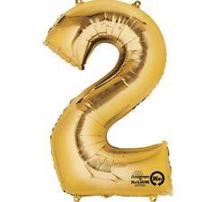 """Numero 2 Gold Foil Balloon 16"""" 40cm Aria Riempire Nome Età Compleanno Anniversario"""