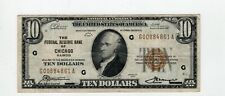 Series 1929 Ten Dollars $10 Federal Reserve Bank Chicago IL National Currency