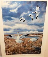 """ANDREW KISS """"SNOW GEESE"""" LIMITED EDITION HAND SIGNED LARGE LITHOGRAPH"""