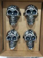 Cynthia Rowley Curious Halloween Skull Metal Napkin Rings Set Of 4 New