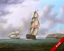 PASSING SHIPS AT PLYMOUTH SOUND FRIGATE SAIL BOAT PAINTING ART REAL CANVASPRINT