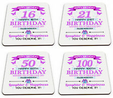 Happy Birthday To You Happy 16-100th Birthday Novelty Glossy Mug Coaster - Pink