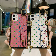 For iPhone 12 11 Pro Max XR 8 7 Shockproof Square Bling Glitter Heart Case Cover