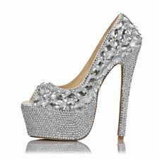 Woman Diamond High Heel Wedding Pumps Party Open Toe Stiletto Silver Dance Shoes