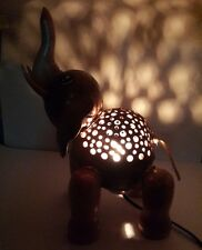 THAI WOODEN CARVED COCONUT SHELL ELEPHANT TABLE LAMP STAND NIGHT LIGHT HANDMADE
