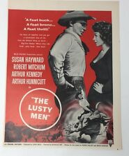 Original Print Ad 1952 Movie Ad THE LUSTY MEN Susan Hayward Robert Mitchum