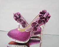 Purple beautiful Vogue lace Flowers Crystal High Heels Wedding Bridal Shoes Hot