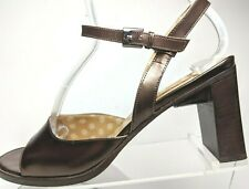 Paloma Italy Chunky High Heels Open Toe Sandals Brown Leather Womens 8.5 M