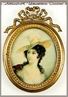 Fine Antique Hand Painted Portrait Miniature, French Gilt Bronze Frame