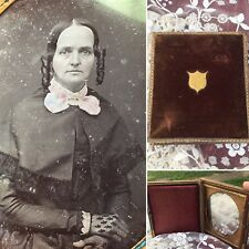Antique 1800's Transgender Photo Velvet Leather Pocket Picture Metal Mirror Goth