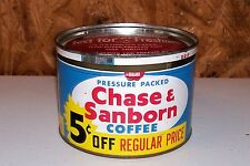 Old Chase & Sanborn Coffee Tin Can Kitchen Collectible Food Standard Brands Inc