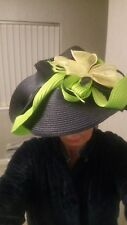 LARGE  COUTURE NAVY AND LIME GREEN FASCINATOR, CUSTOM MADE FOR ME WORM AT ASCOT.
