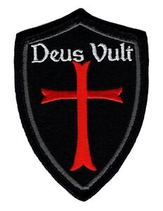Deus Vult Cross Shield christian Templar Knight in God Wills Hook Patch (DSV2)