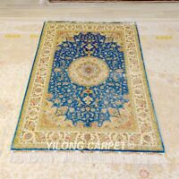 YILONG 4'x6' Blue Classic Handknotted Silk Carpet Indoor Floral Area Rug Z390A