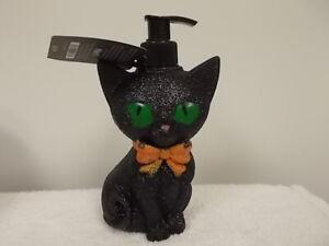 Pier 1 Imports Halloween Black Cat Kitten Red Apple Hand Wash Soap & Dispenser
