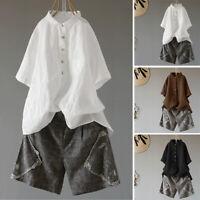 ZANZEA Womens Short Sleeve Buttons Tops Casual Loose Cotton Shirt Blouse Plus