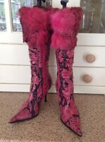 EYE CATCHING HALEN DOUGLES PINK SNAKE PRINT LEATHER BOOTS UK SIZE 4 WORN