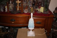 Vintage Italian Table Lamp Blue Flowers Marble Base-#1