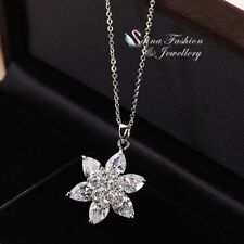 18K White Gold Filled Cubic Zirconia Extra Sparkling Clear Flower Necklace