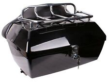 Black Motorcycle Luggage case Tour Trunk W/Top Rack Backrest for yamaha cruiser