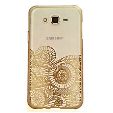 Designer Clear +Gold Hard Plastic Back Cover Case for Samsung Galaxy J7 / J7 Nxt